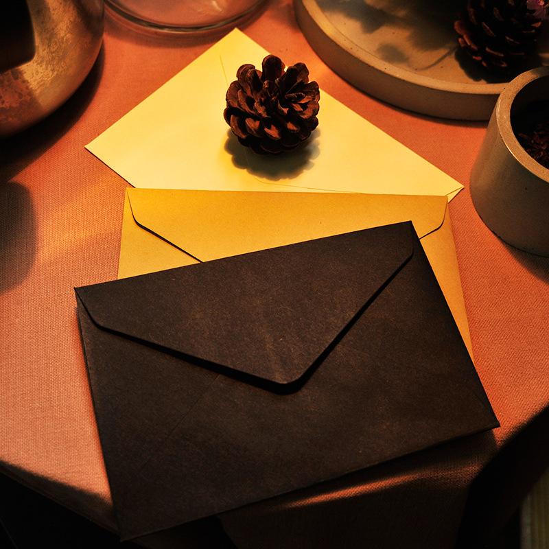 新品 沐光信封定制 黑色信封 简约创意空白复古牛皮纸信封