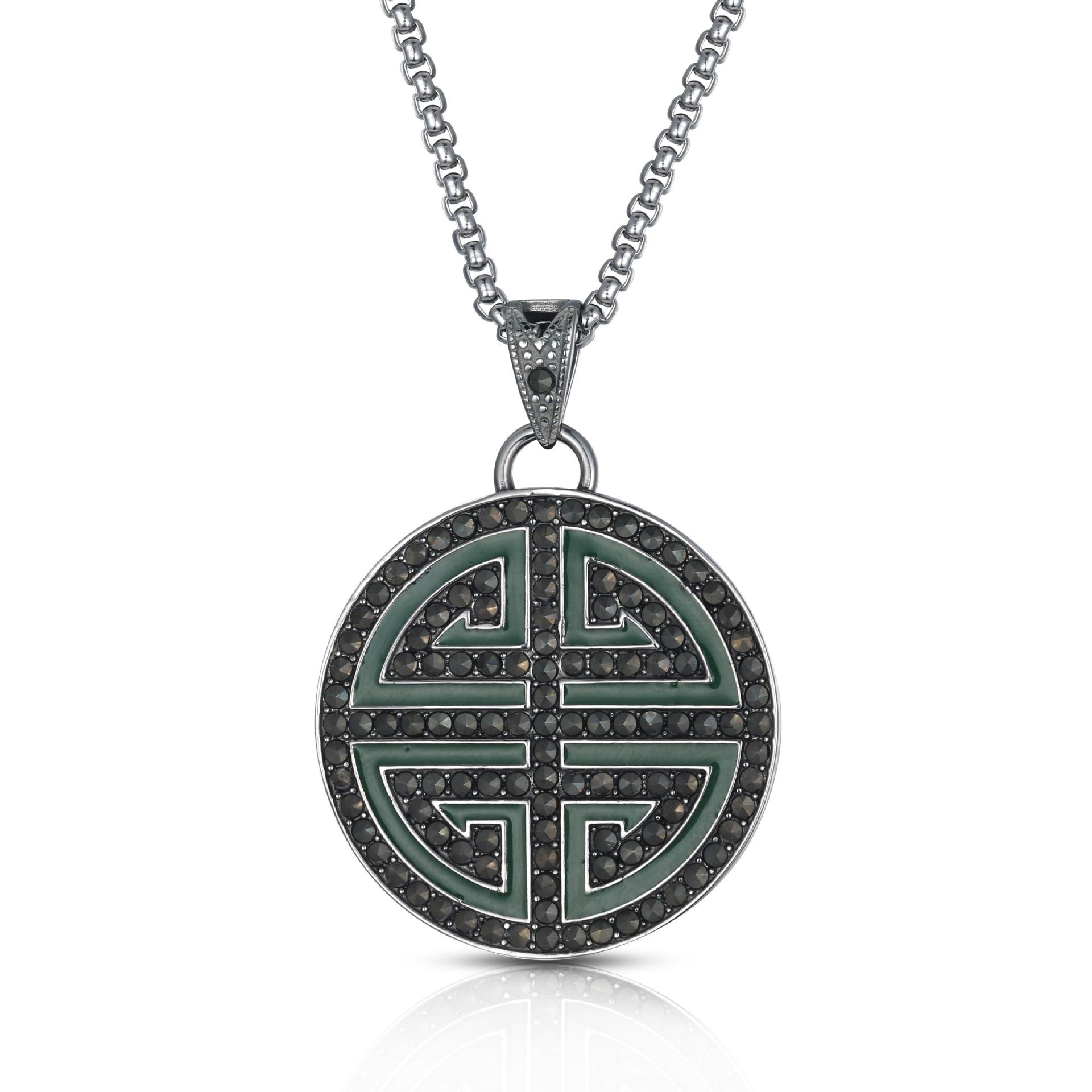 新款时尚复古中国风微镶寿字圆牌纯银锁骨项链