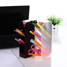 日本进口办公室桌面收纳盒 塑料化妆刷筒笔筒办公文具多格整理盒