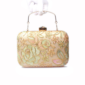 Lady handbag fashion embroidery lace Europe and America dress cheongsam hand bag ms single shoulder inclined back bag