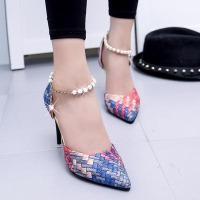 Giày cao gót nữ hiện đại, vân họa tiết nổi bật, nhiều màu sắc