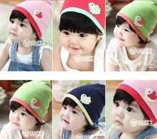 帽子批发 彩色拼接套头帽 婴儿卡通小鸡贴布胎帽 宝宝波点印花帽