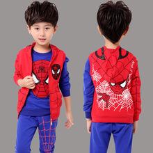 蜘蛛俠童裝男童春秋裝套裝兒童純棉運動衛衣三件套超人衣服代發潮