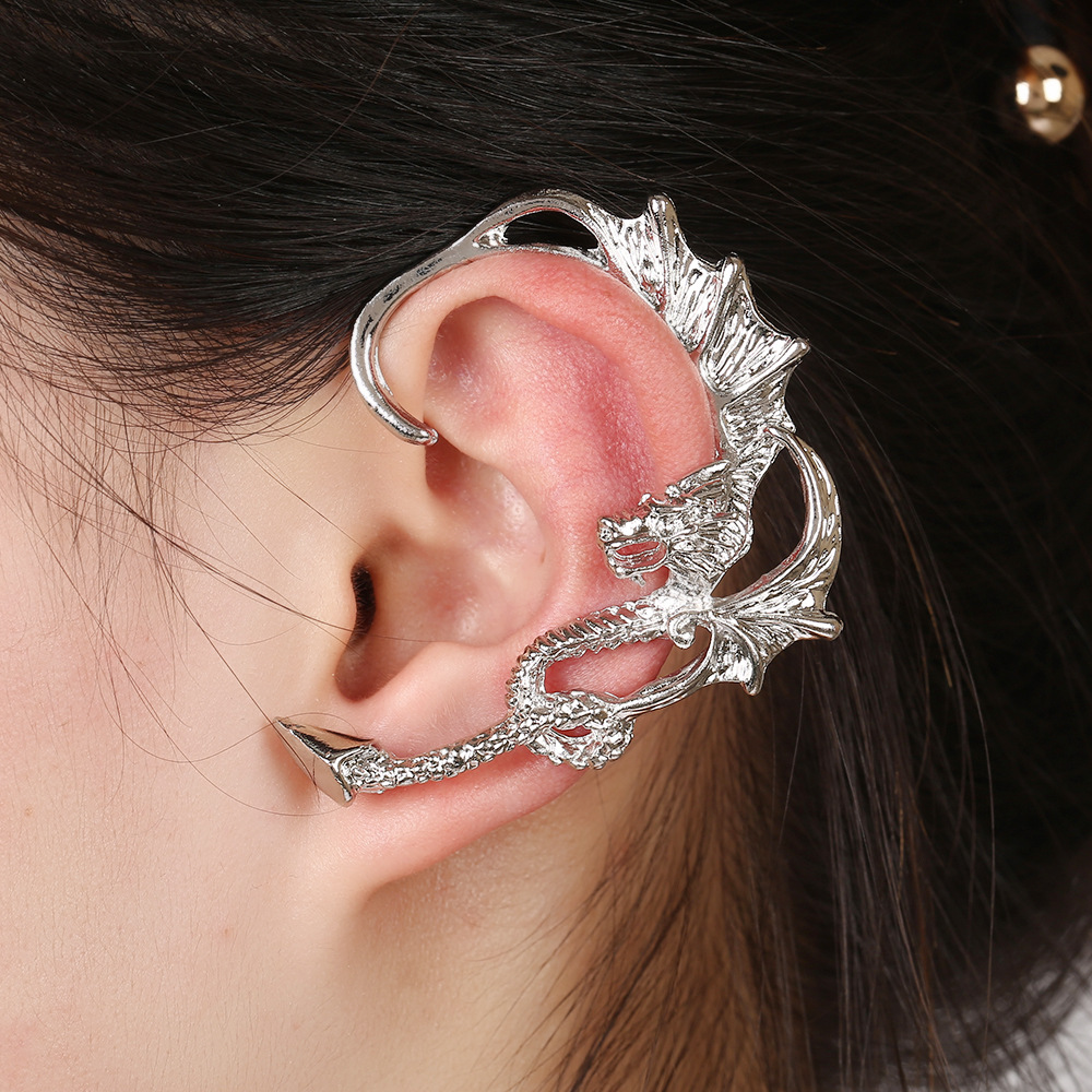 exaggerated dragonshaped hypoallergenic ear bone clips NHYE281811