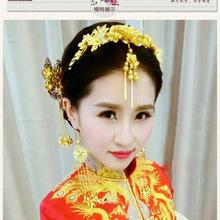新娘古装头饰套装金色复古凤冠后梳发钗结婚秀禾服配饰汉服发饰