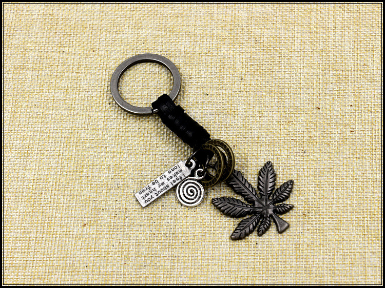 Alloy Maple Leaf Cowhide Key Ring For Men And Women Retro Woven Leaf Leather Key Ring Accessories NHHM194511