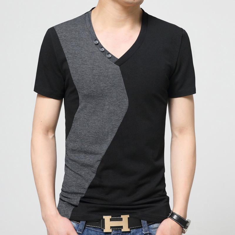 【现货】纯棉男士夏装短袖t恤 大码撞色V领短袖t恤时尚休闲潮6820