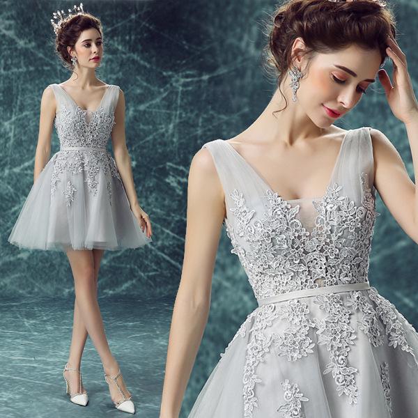 厂家深v领伴娘服短款灰色蕾丝晚宴年会演出小礼服新娘婚纱批发