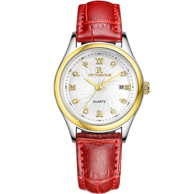 正品超薄防水商务真皮带石英表女士手表女男腕表学生男士女表手表