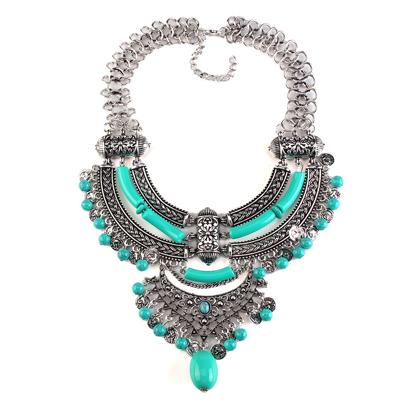 Occident alloy Geometric necklace ( Light blue ) NHJQ4012