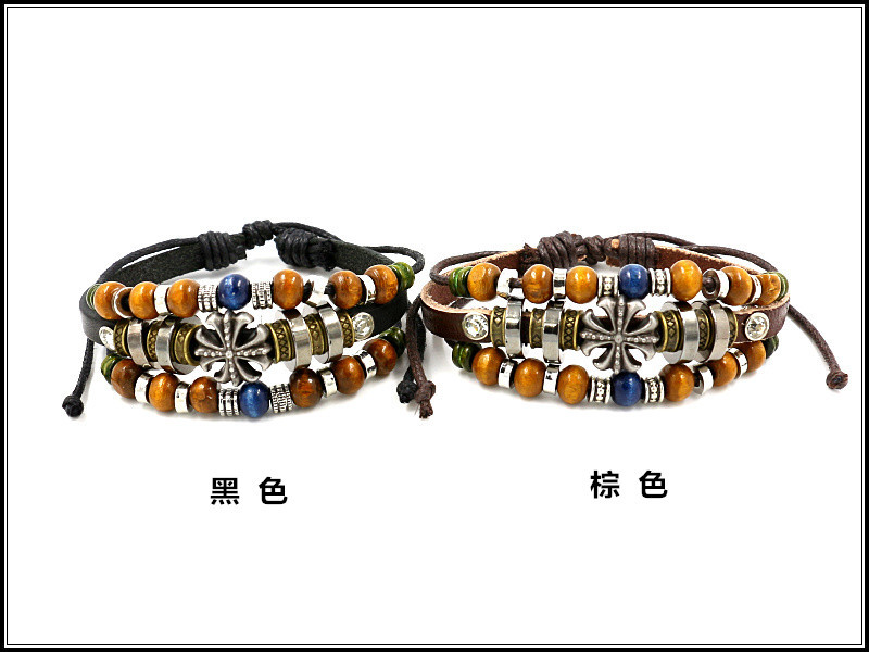 fashion jewelry retro beaded cross cowhide jewelry unisex leather bracelet wholesale nihaojewelry NHHM229749