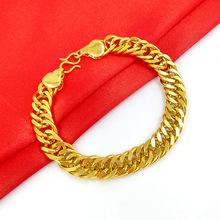 供给男士新款老板坦克扁链手链 批发黄铜镀金仿黄金饰品 久不掉色