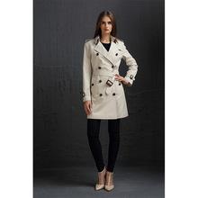 2019新款欧美b家风衣 中长款双排扣女式宽松白色风衣外套面料