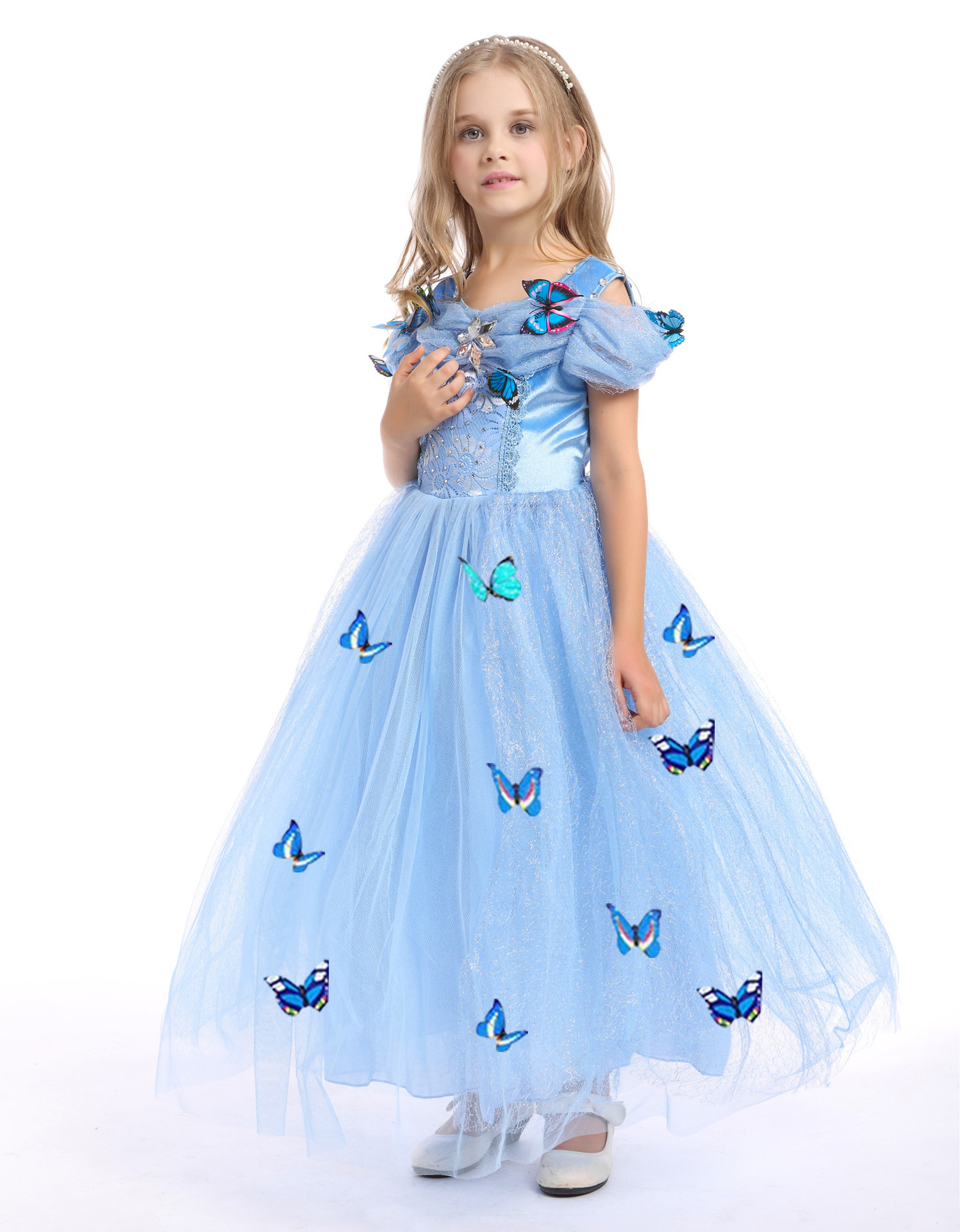 0421a9522 2019 Snowflake Diamond Dress 2018 Fancy Costumes For Kids Blue Gown ...