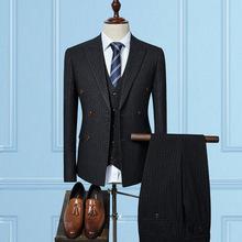 一件起批男士新款西服套装四季百搭修身条纹西装套装三件套W6178