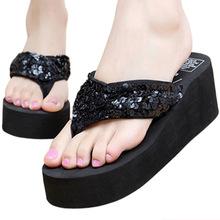 夏季新款涼拖鞋 女士大碼人字拖坡跟厚底亮片拖鞋沙灘防滑夾腳拖