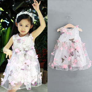 The 2016 summer new kids kids girls butterfly print petal yarn vest princess dress fashion dress