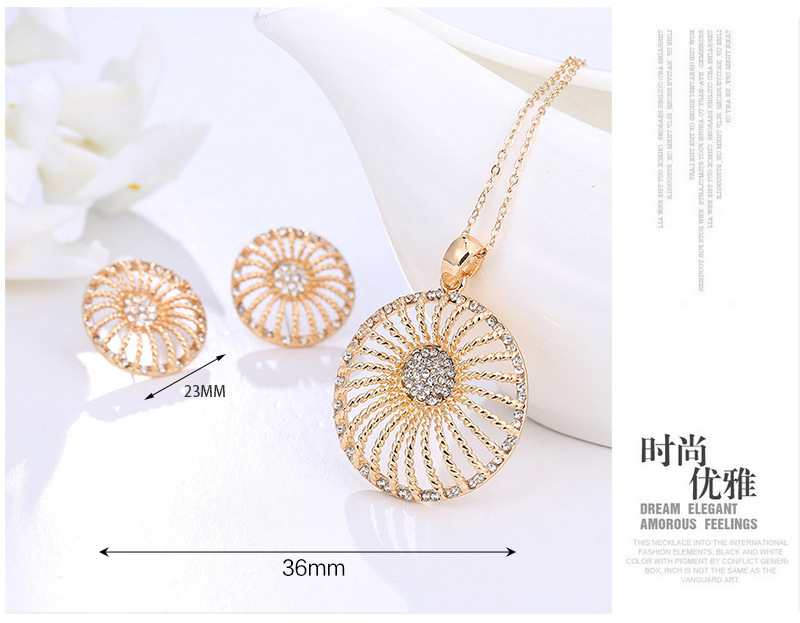 New jewelry wholesale Korean version of the diamond necklace exquisite earrings set necklace four sets NHKQ180327