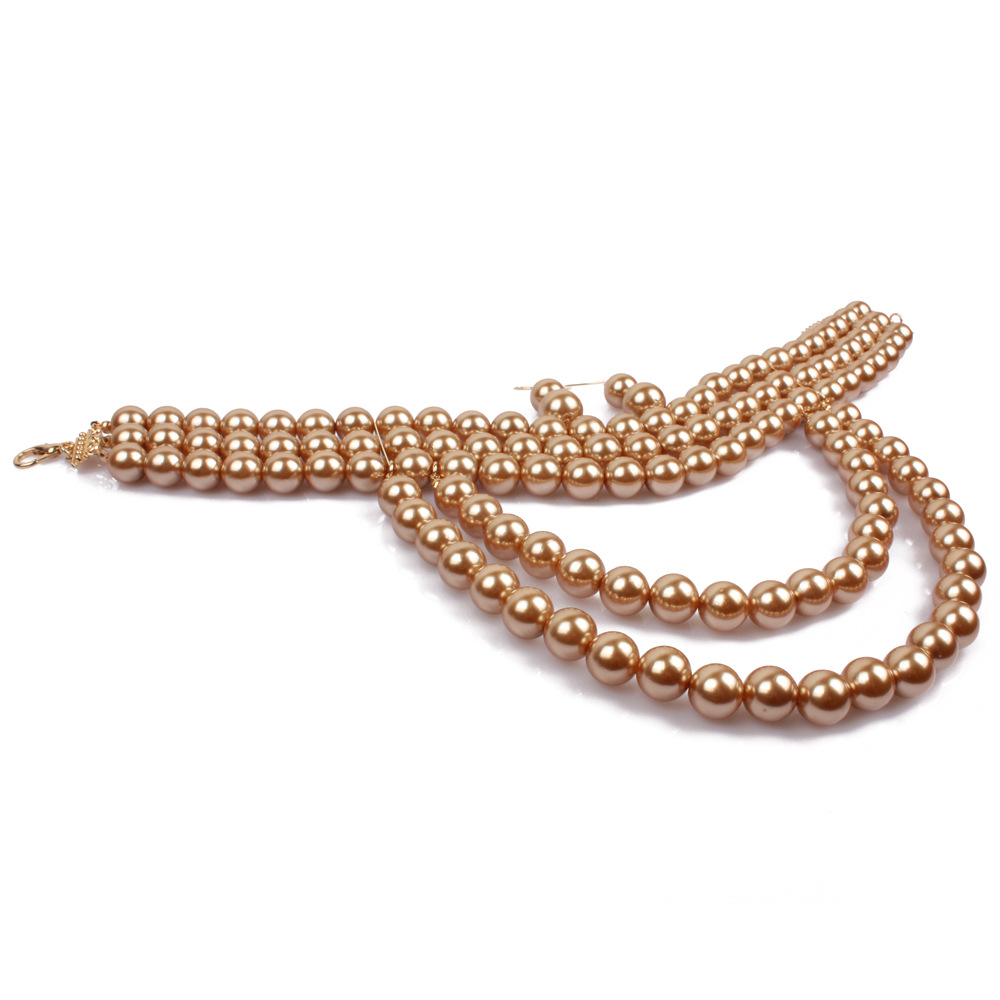 Occident and the United States pearlNecklace Set (Gold)NHCT0012-Gold