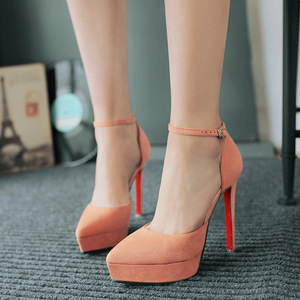 Korean style fashion simple sexy nightclub with high heeled suede shallow mouth shoes