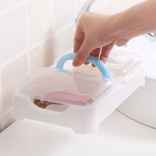 創意時尚帶手提雙格瀝水肥皂架大號肥皂盒透明帶蓋香皂盒