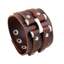 歐美手鏈 廠家直銷新款復古牛皮手飾 時尚朋克真皮男士手鏈飾品