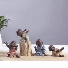 善和陶瓷 功夫小子小沙弥紫砂茶宠 小和尚茶玩摆件 精美手工摆件
