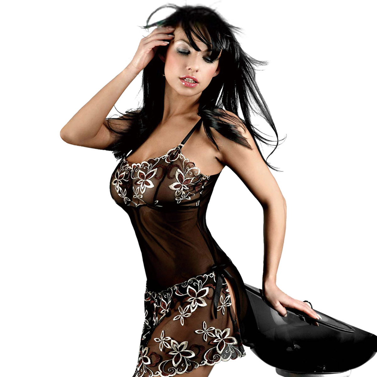 Sexy Lingerie Female Plus Size See-through Embroidered Suspender Nightdress