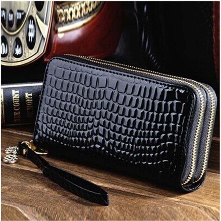 广州钱包新款韩版双拉链女士大容量长款女包包漆皮零钱手机手拿包