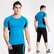 Tight sportswear men's summer short-sleeved training suit gym quick-drying stretch running suit