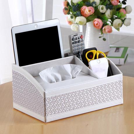Sheng Rende châu Âu nhà hộp từ xa bơm sáng tạo khay da da đen hộp giấy đa chức năng Hộp khăn giấy đa chức năng
