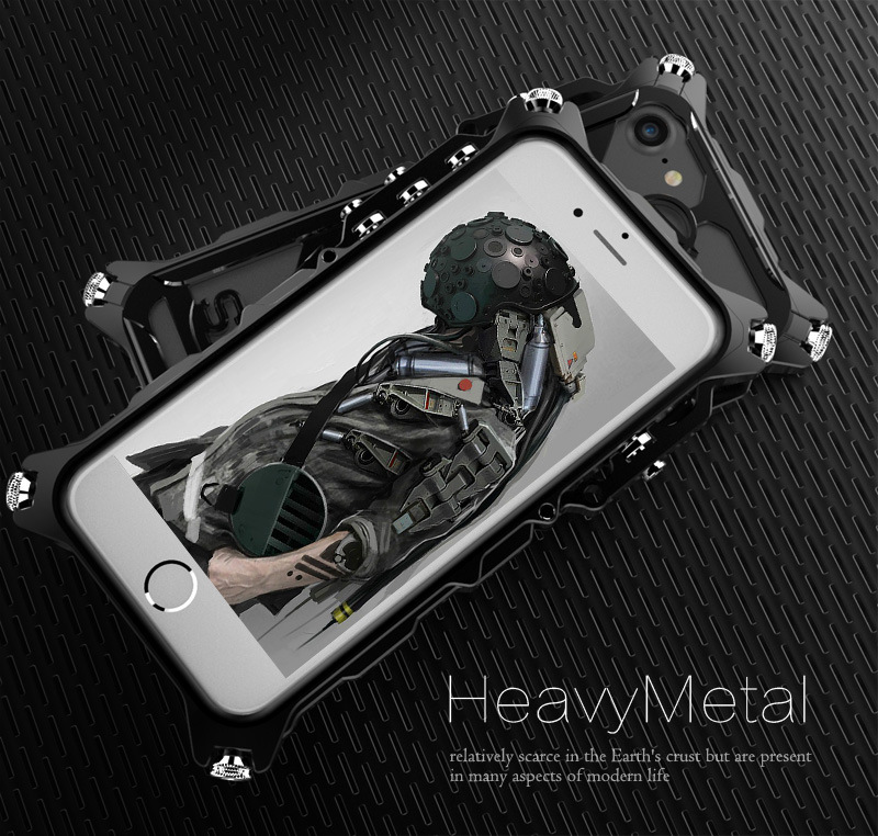 SIMON Mechanical Arm Skull Punk Premium Aluminum Metal Bumper Shockproof Case Cover for Apple iPhone 7 Plus & iPhone 7