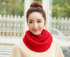 New bib female autumn and winter thick warm student collar knit double sided head scarf