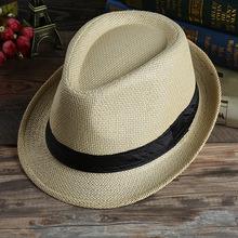 男士夏季遮阳帽草帽情侣草编爵士帽韩版帽子女士太阳沙滩帽亲子款