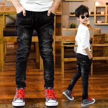 2017春秋款童装 男童韩版怪兽加绒牛仔裤 中大儿童长裤子一件代发