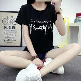 2018夏季女士t恤一件代发半袖韩版大码时尚打底衫字母女装t恤短袖女士T恤