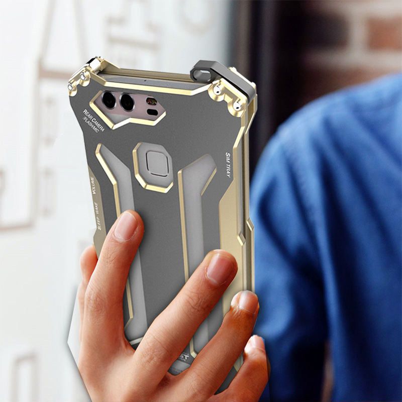 R-JUST GUNDAMAerospace Aluminum Contrast Color Shockproof Metal Shell Outdoor Protection Case for Huawei P9