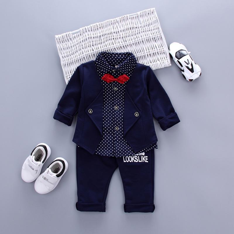 2021春秋新款英伦风小童男童装套装假两件套衬衣衬衫套批发潮款