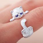 韩国复古可爱 喵星人小猫咪99足银纯银开口戒指指环 闺蜜礼物银饰