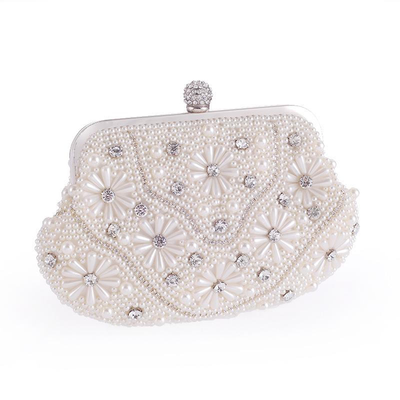 New womens bag fashion pearl evening party bride bag wedding bag hand chain single shoulder bag NHYG176847