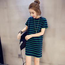 韓國代購孕婦裝夏裝圓領短袖上衣時尚橫條紋中長款套頭打底孕婦衫