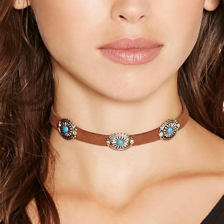欧美时尚饰品 波西米亚风 复古简约 金属花盘松石颈链项圈C1711