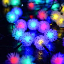 廠家直銷太陽能燈串30LED毛毛球 景觀庭院戶外圣誕節日裝飾彩燈