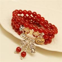 【诺梵】天然水晶红玛瑙手链 貔貅福袋菩提子多层手串女式饰品