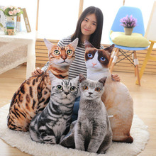 創意仿真貓咪抱枕可愛貓公仔毛絨玩具立體寵物玩偶可拆洗一件代發