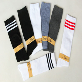 Popular style three-bar student socks women's spring and autumn socks and knee-bottomed cotton socks