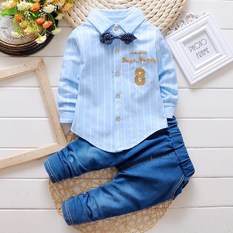 童装0-4岁春装2021新款男宝宝儿童衬衫长裤套装厂家直销韩版