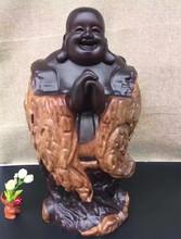 黑檀木雕招财弥勒佛摆件 红木恭喜发财自然佛像摆件木质工艺品
