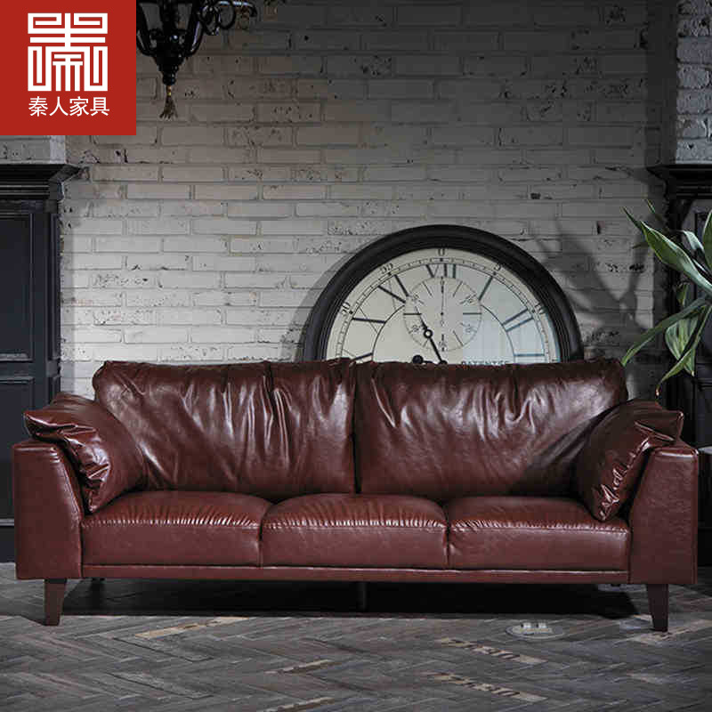 Modern Nordic retro red leather sofa office living room business oil wax  furniture leather sofa double triple combination