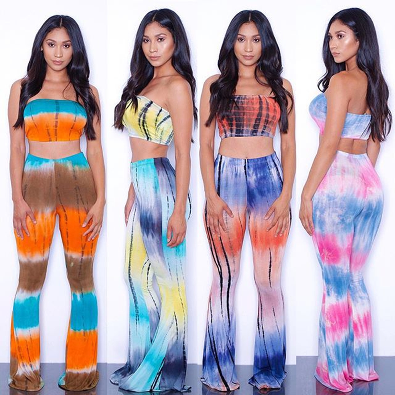 New 2 Piece Set Tie Dye Flared Trousers High Waist Wide